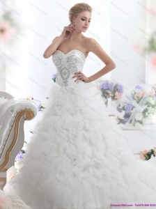 2015 New Beading Sweetheart White Bridal Gown with Ruffles and Brush Train