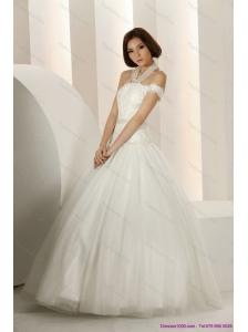 2015 New Laced Strapless White Wedding Dresses with Beading