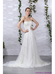 2015 New Ruffled White Strapless Wedding Gowns with Brush Train