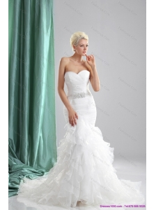 2015 New Ruffles White Sweetheart Wedding Dresses with Sequins
