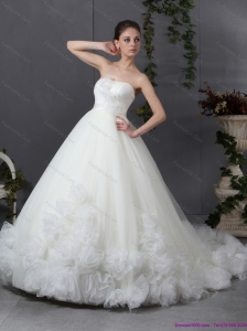2015 New Style Ruffled White Wedding Dresses with Chapel Train