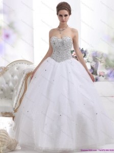 2015 New Sweetheart Floor Length White Wedding Dresses with Brush Train and Rhinestones