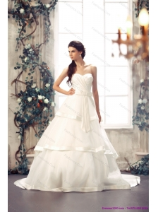 2015 New Sweetheart White Bridal Gowns with Chapel Train