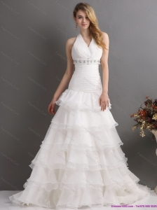 2015 New White Halter Top Beading Wedding Dresses with Ruffled Layers and Brush Train
