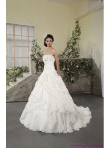 2015 New White Strapless Ruffled Wedding Dresses with Chapel Train and Beading