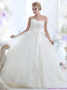 2015 New White Sweetheart Bridal Dresses with Waistband