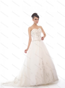 2015 New White Sweetheart Chapel Train Bridal Gowns with Beading and Appliques