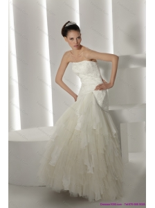 New Strapless Ruffles and Appliques White Wedding Dresses for 2015