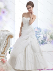 New Strapless Ruffles and Beading White Bridal Gowns for 2015
