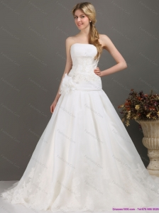 Plus Size Ruched Beaded White Wedding Dresses with Brush Train and Hand Made Flower