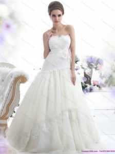 Plus Size Ruffled White Strapless Wedding Dresses with Sash and Bownot
