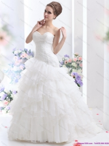 Plus Size White Brush Train Wedding Dresses with Ruffled Layers and Sequins