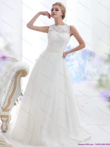 Plus Size White High Neck Laced Wedding Dresses with Brush Train
