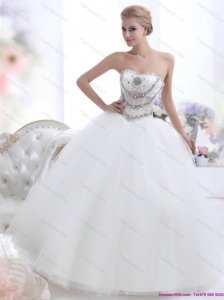 Pretty White Sweetheart 2015 New Wedding Dresses with Rhinestones