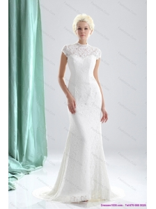 2015 Plus Size High Neck Wedding Dresses with Lace
