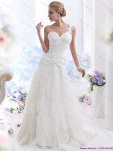 2015 Plus Size One Shoulder Wedding Dress with Ruching and Lace