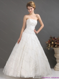 2015 Plus Size Strapless Wedding Dress with Floor-length
