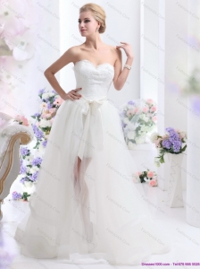 2015 Plus Size Sweetheart Wedding Dress with Lace and Sash