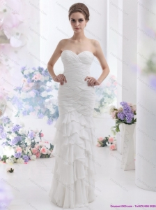 2015 Plus Size Sweetheart Wedding Dress with Ruching and Ruffled Layers