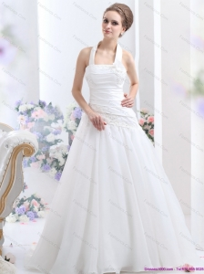 New 2015 Halter Top Wedding Dress with Ruching and Hand Made Flowers