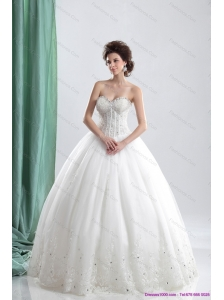 Plus Size 2015 Sweetheart Wedding Dress with Beading and Lace