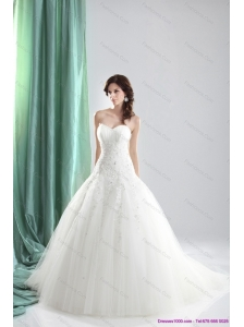 2015 New and Pretty Sweetheart A Line Wedding Dress with Appliques