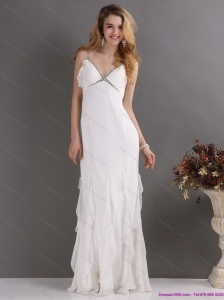 2015 New Empire Criss Cross Wedding Dress with Beading