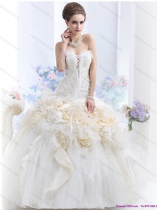 2015 New Strapless Wedding Dress with Hand Made Flowers