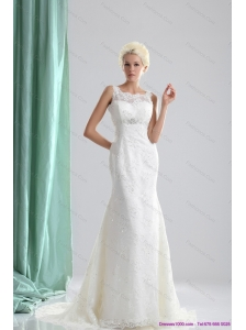 2015 New Style Lace and Beading Wedding Dress with Brush Train