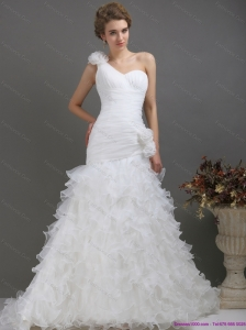 2015 Plus Size One Shoulder Wedding Dress with Ruching and Hand Made Flowers