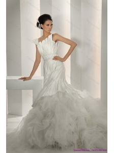 Gorgeous 2015 New Asymmetrical A Line Wedding Dress with Ruching and Ruffles