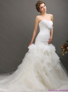 New 2015 Classical Sweetheart Wedding Dress with Ruching and Ruffles