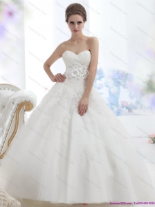 New 2015 Fashionable Sweetheart Wedding Dress with Lace and Hand Made Flowers