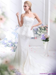 New 2015 Feminine Sweetheart Wedding Dress with Lace and Bowknot