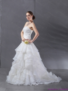 New 2015 Popular A Line Strapless Wedding Dress with Ruffles