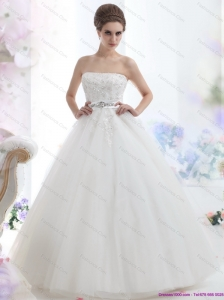 New 2015 Popular Strapless Beading Wedding Dress with Brush Train
