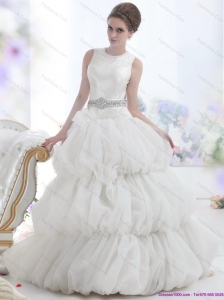 New 2015 Romantic Scoop Wedding Dress with Beading