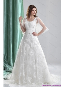 New 2015 Wonderful A Line Wedding Dress with Beading and Lace