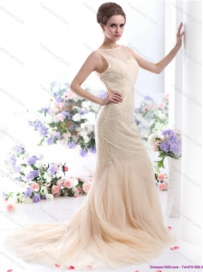 New and Gorgeous 2015 Beteau Champagne Wedding Dress with Sequins