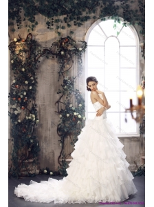 Plus Size 2015 Strapless Wedding Dress with Beading and Ruffles