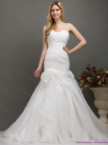 Plus Size  Sweetheart Ruching Wedding Dress with Brush Train for 2015