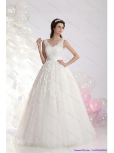 2015 Plus Size A Line Lace Wedding Dress with Floor-length