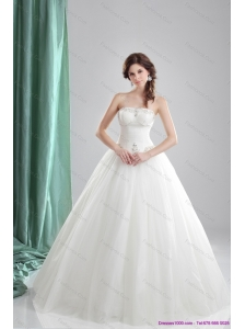 2015 Plus Size  A Line Strapless Wedding Dress with Beading