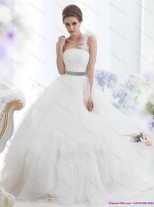 2015  Plus Size One Shoulder Wedding Dress with Appliques