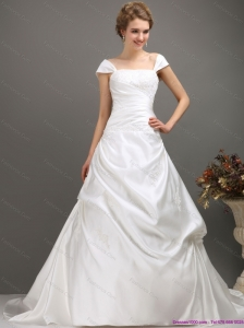 2015 Plus Size Square Lace Wedding Dress with Floor-length