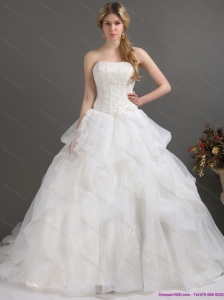 2015 Plus Size Strapless Lace Wedding Dress with Brush Train