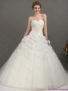 2015 Plus Size Sweetheart Wedding Dress with Appliques