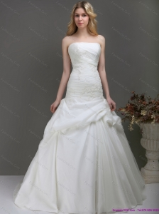 Plus Size Strapless Wedding Dress with Ruching and Lace for 2015