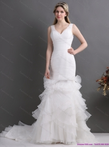 Plus Size V Neck 2015 Wedding Dress with Ruching and Ruffles