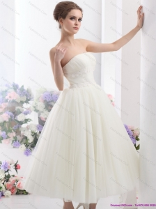 Short White Strapless Wedding Dresses with Ruching